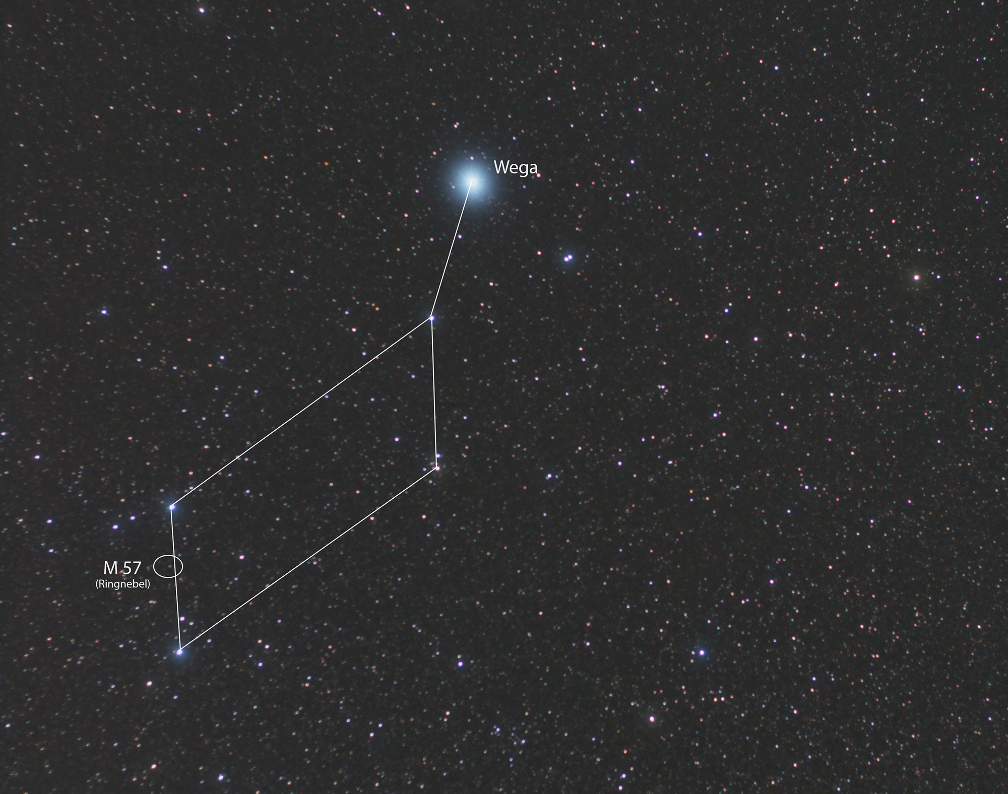 Sternbild Lyra (mit Linien)